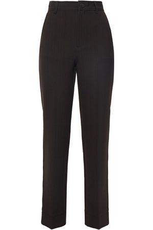 Ganni Women Trousers - Woman Checked Woven Straight-leg Pants Dark Size 34