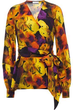 Ganni Women Wrap Tops - Woman Printed Crepe De Chine Wrap Blouse Size 36