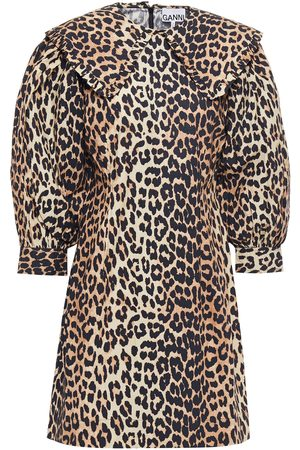 Ganni Woman Gathered Leopard-print Cotton-poplin Mini Dress Animal Print Size 32