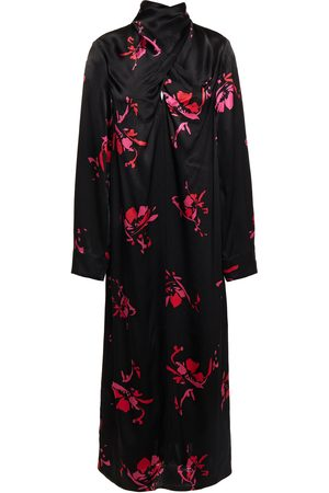 Ganni Woman Draped Floral-print Satin-crepe Midi Dress Size 32