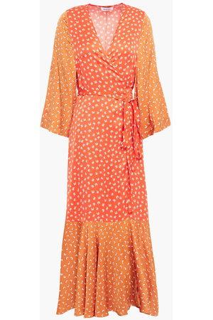 Rodebjer Woman Millie Paneled Printed Satin Midi Wrap Dress Size L