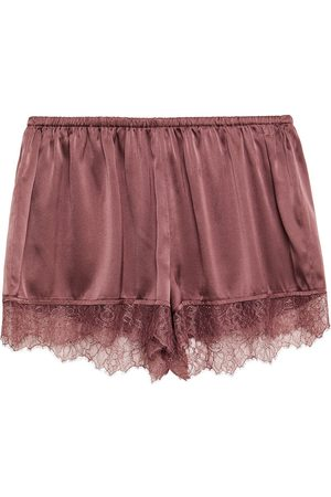 CAMI Woman Ember Lace-trimmed Stretch-silk Satin Pajama Shorts Grape Size S