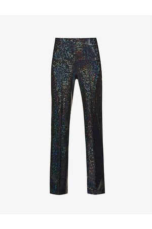 Saks Potts Lissi shimmer high-rise stretch-woven trousers