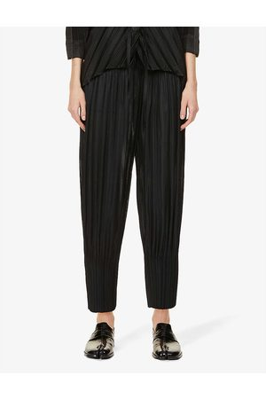 PLEATS PLEASE ISSEY MIYAKE Fluffy pleated tapered high-rise woven trousers