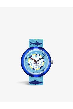Flik Flak FBNP157P Sharkasm graphic-print shell and woven quartz watch
