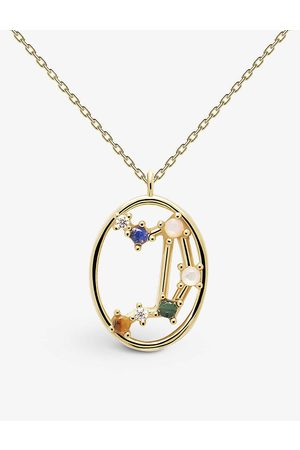 PD Paola Zodiac Libra 18ct -plated sterling silver and gemstone necklace