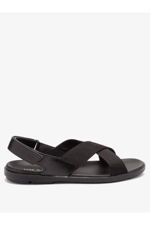 Prada Logo-jacquard Crossover-strap Sandals - Mens