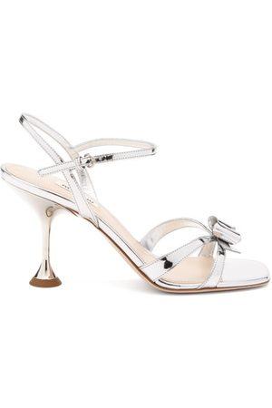 Miu Miu Bow Metallic-leather Sandals - Womens