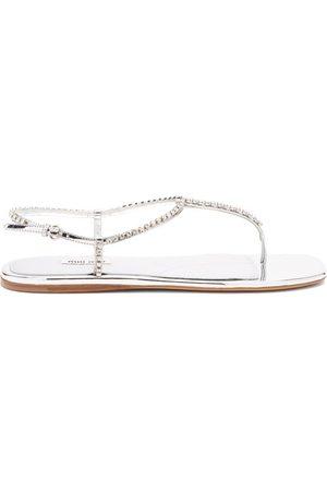 Miu Miu Women Sandals - Crystal-embellished Patent-leather Sandals - Womens