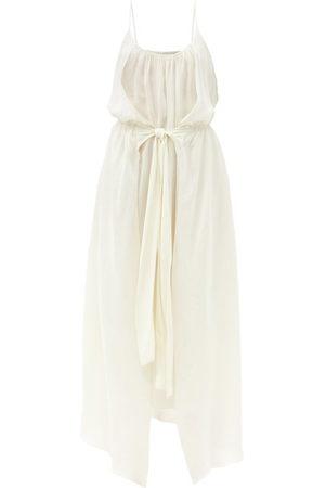 Raey Knot-front Elasticated-waist Crepe Dress - Womens - Ivory