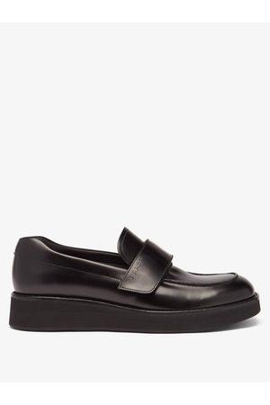 Prada Men Loafers - Velcro-strap Leather Platform Loafers - Mens