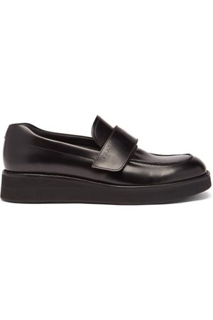 Prada Velcro-strap Leather Platform Loafers - Mens