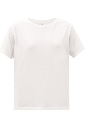 Saint Laurent Relaxed-fit Cotton-jersey T-shirt - Womens - Off