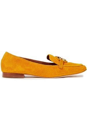 Tory Burch Woman Embellished Suede Loafers Marigold Size 10