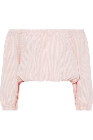 Melissa Odabash Woman Dannah Off-the-shoulder Striped Cotton-seersucker Top Blush Size L