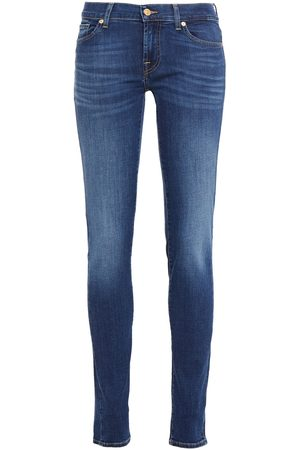 7 for all Mankind Woman Faded Mid-rise Slim-leg Jeans Mid Denim Size 26