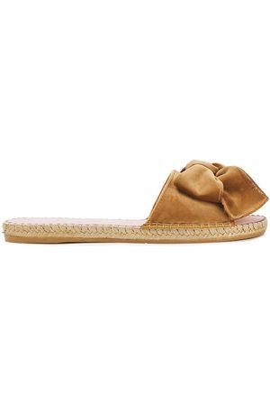 MANEBI Manebí Woman Hamptons Bow-embellished Velvet Slides Camel Size 35