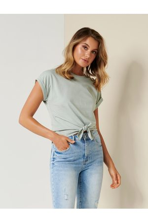 Forever New Women's Nellie Tie-Front Tee Shirt in Sage , Size Large 100% Organic Cotton