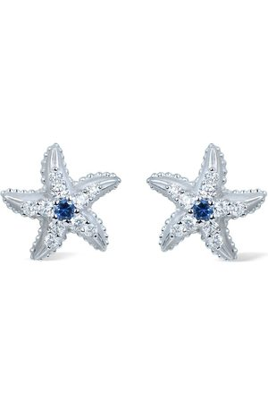 Carrera 18kt white gold diamond sapphire Estrella Marina earrings