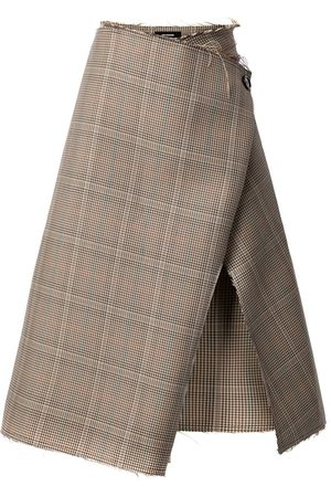 We11 Done Asymmetric checked skirt