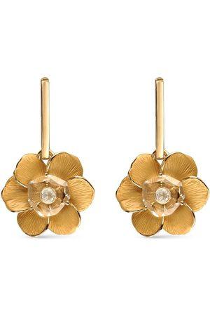 Carrera 18kt yellow quartz diamond Gardenias flower drop earrings