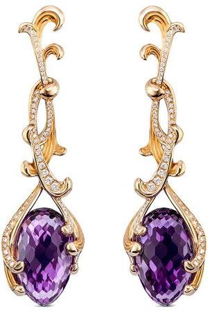 Carrera 18kt yellow Origen amethyst and diamond drop earrings