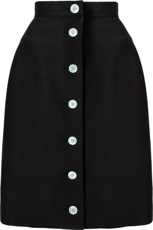 We11 Done Front button-up wool skirt