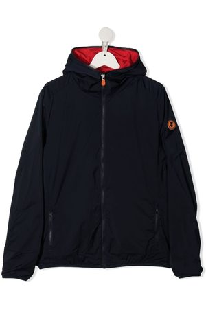 save the duck TEEN logo-plaque hooded jacket
