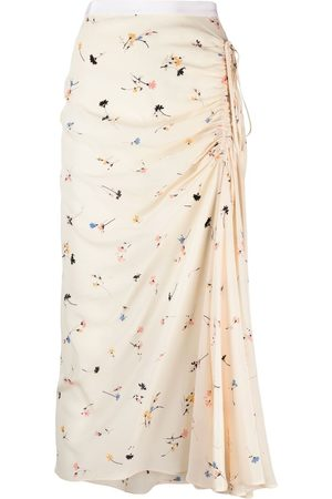 Nº21 Ruched floral-print skirt - Neutrals