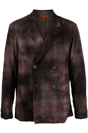 BARENA Faded plaid double-breasted blazer