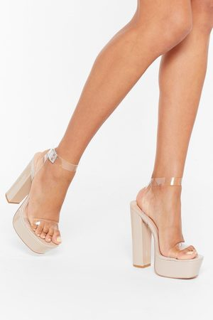 NASTY GAL Womens Clear Ankle Strap Faux Leather Platform Heels