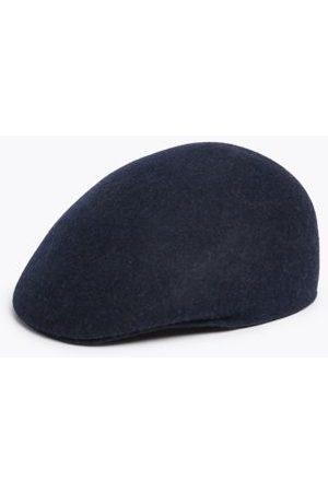 Marks & Spencer Mens Wool Flat Cap - L-XL - Navy, Navy