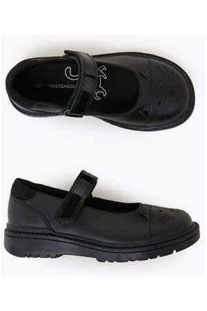 Marks & Spencer Girls Kids' Leather Mary Jane Cat School Shoes (8 Small - 1 Large) - 8.5 SSTD