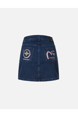 Evisu Kamon and Seagull Embroidered Denim Skirt