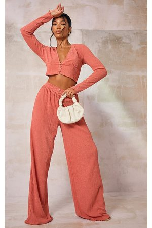 PRETTYLITTLETHING Women Wide Leg Trousers - Dusty Rose Crinkle Textured Button Front Wide Leg Trousers
