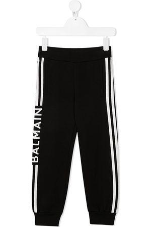 Balmain Logo-stripe cotton trousers