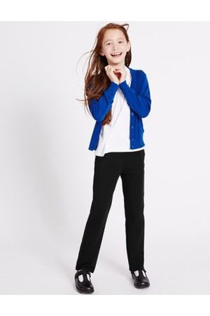 M&S Girls Girls' Regular Leg Knitted School Trousers (2-16 Yrs) - 29 - Navy Mix, Navy Mix, Mix