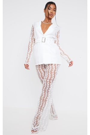 PRETTYLITTLETHING Sheer Lace Woven Flared Trouser