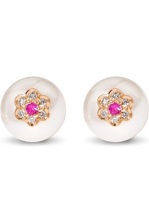 David Morris Berry pearl flower stud earrings