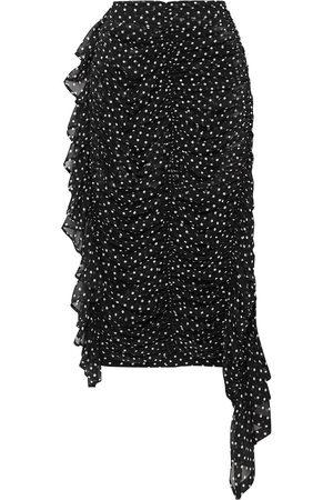 DRIES VAN NOTEN Women Midi Skirts - Woman Asymmetric Ruched Polka-dot Silk-georgette Midi Skirt Size 34