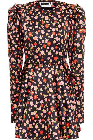ROTATE Woman Pauline Flared Floral-print Duchesse-satin Mini Dress Size 34