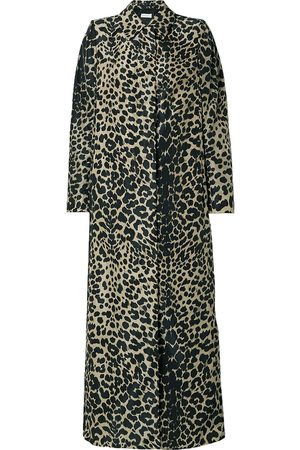 DRIES VAN NOTEN Woman Leopard-print Shell Trench Coat Animal Print Size 34
