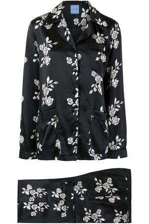 Macgraw Women Lingerie Sets - Rose print silk pajama set