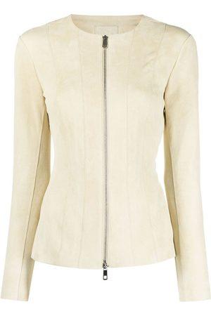 DESA 1972 Women Leather Jackets - Zip-up suede jacket - Neutrals