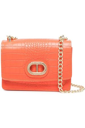 DEE OCLEPPO Crocodile effect shoulder bag - ARANCIO