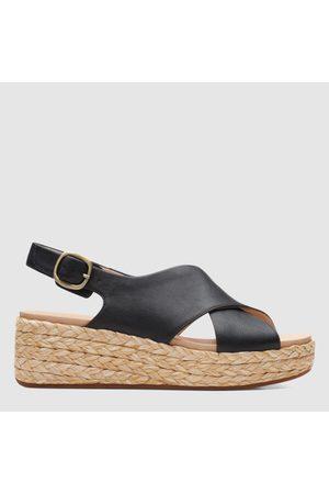 Women Sandals - Clarks Women's Kimmei Cross Leather Wedged Sandals