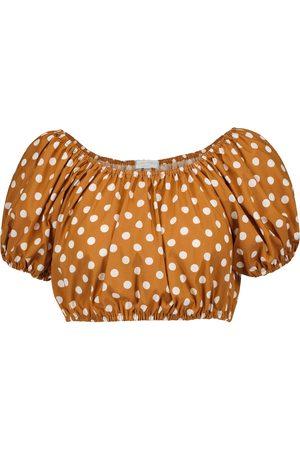 Caroline Constas Polka-dot cotton-blend crop top