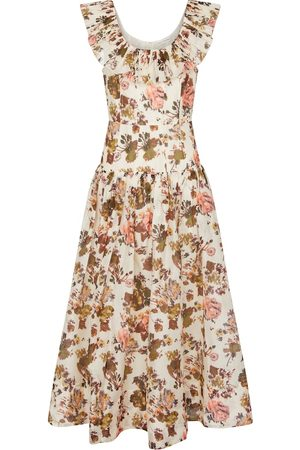 ULLA JOHNSON Women Midi Dresses - Coretta floral organza midi dress