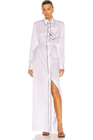 Y / PROJECT Asymmetric Collar Maxi Shirt Dress in