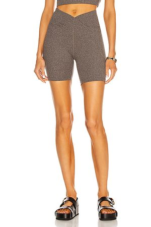 YEAR OF OURS Ribbed V Waist Biker Short in Heather